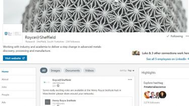 A screenshot of the LinkedIn profile for Royce Sheffield