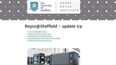A screenshot of the Royce Sheffield newsletter
