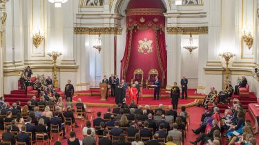 Ceremony for Queen's Anniversary Prize at Buckingham Palace