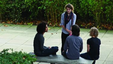A group of Philosophy students are chatting outside the Jessop building.