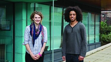 Two Philosophy undergraduate students outside the Jessop West building.