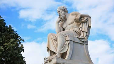 A statue of the ancient philosopher Socrates.