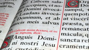 Detail of a historic bible written in Latin