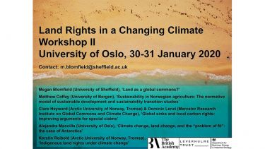 Land Rights in a Changing Climate Workshop two, University of Oslo, 30-31 January 2020.