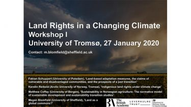 Land Rights in a Changing Climate Workshop. University of Tromso. 27 January 2020.