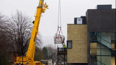 The Scanner being lifted in by crane