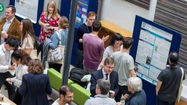 People chatting, networking, and presenting posters at a conference
