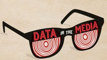Making Sense of Data in the Media book cover with glasses with hypnotic pattern