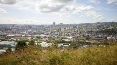 Photo of the landscape of Sheffield on a cloudy day