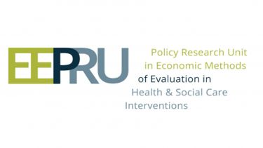 The logo for the Policy Research Unit in Economic Methods of Evaluation in Health and Social Care Interventions. The logo is green, navy and a very light grey.