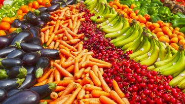 A large array of colourful fruit and vegetables. Cherries, carrots, aubergines and bananas can be seen.