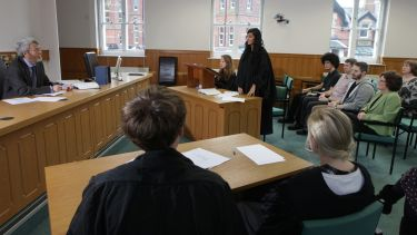 Law students in the on-campus law court