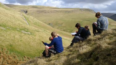 Geography students on a field trip in the Peak District