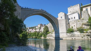 The Neretva river in Mostar, Bosnia and Herzegovnina