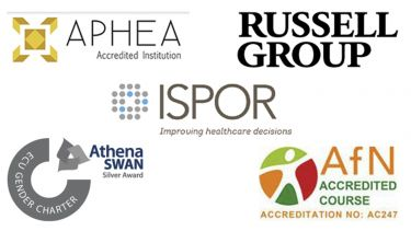 Logos of the organisations that accredit the School of Health and Related Research. They are the Agency for Public Health Education Accreditation, Russell Group, ISPOR (he Professional Society for Health Economics and Outcomes Research), Athena Swan and the Association for Nutrition.