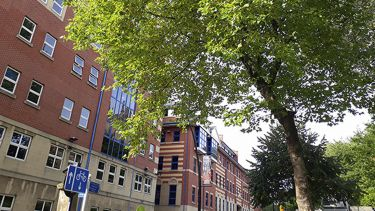 Journalism Studies building at 9 Mappin Street, viewed side on with trees in the foreground.