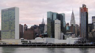 United Nations Headquarters in New York City, view from Roosevelt Island.