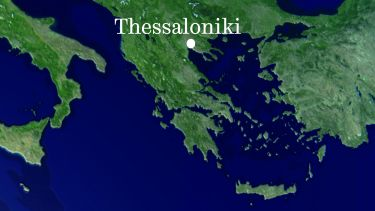 Thessaloniki on a map