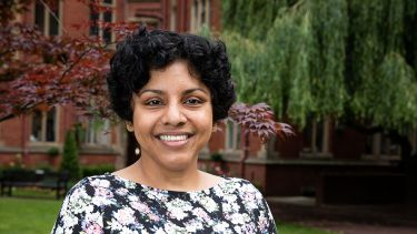 A photo of Dr Aarti Iyer outside Firth Court - image