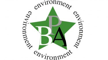 "BPA Logo - A green star with BPA in large capital letters, with ""environment"" written in a circle four times around the outside"