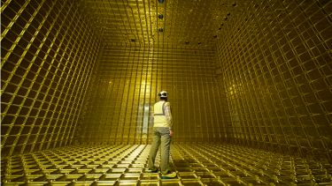 Man stood inside the dector the Deep Underground Neutrino experiment
