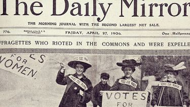 A copy of The Daily Mirror from 1906. Suffragettes are on the front page.
