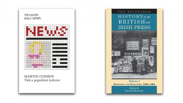 Two book covers - 'News' by Martin Conboy and 'The Edinburgh History of the British and Irish Press, Volume 2'.