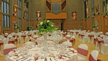 Catering table set-up in Firth Hall