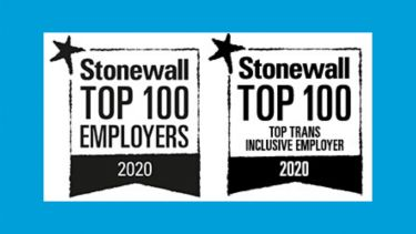Stonewall top 100 employers 2020 logo