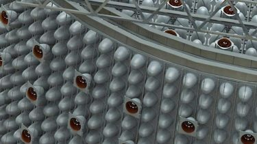 This graphic shows the detail of a possible configuration of the photomultiplier tube mounting structure for the WATCHMAN antineutrino detector, a key part of the Advanced Instrumentation Testbed.