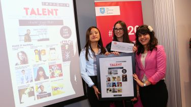 Sheffield journalism students receiving a prize at the Magazine Academy awards