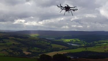 Octocopter over Peak District