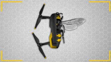 bee -drone hybrid on honeycomb background