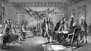 Illustration of drafting First Declaration of Independence.