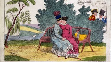 Lady Strachan and Lady Warwick making love in a park, while their husbands look on with disapproval. Coloured etching, ca. 1820
