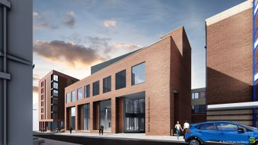 A CGI image of a red brick university building called the Royce Discovery Centre