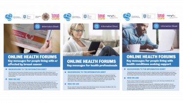 Previes of the Space for Sharing online health forums information sheets.