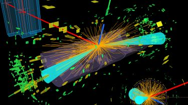 A visualisation of a Higgs candidate decaying at ATLAS
