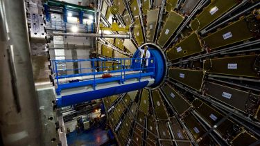 The ATLAS detector being installed at CERN