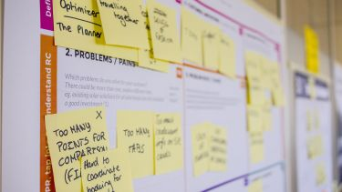 A list of post-it on a project planning matrix