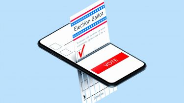 Graphic of an election ballot on a mobile device