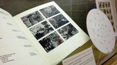 Image of a display of unique collections from the University Library