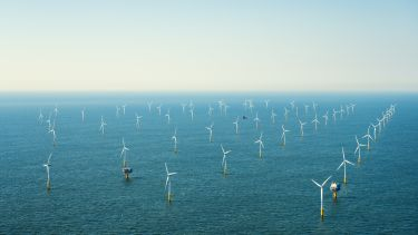 Aerial view of an offshore wind farm
