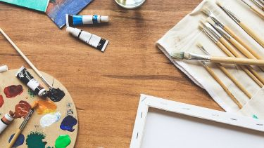 Paint, canvas and paint brushes