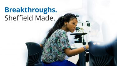 Image: researcher in lab; Text: Breakthroughs. Sheffield Made.