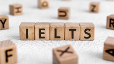 Wooden blocks with the word IELTS