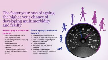 Diagram to show the biological and social factors that can accelerate and decelerate the rate of aging