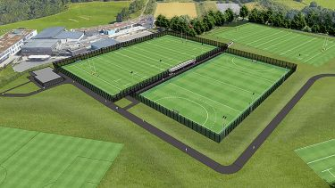 A computer generated concept art of what the Norton sports centre and fields will look like