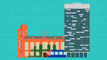 Graphic depicting the Arts Tower, Firth Court and a Sheffield tram