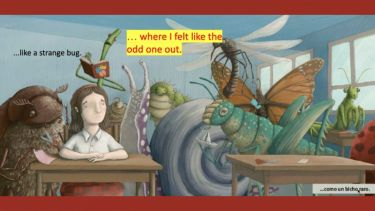 A girl in a school setting among bugs: picture form the picture book the students tackled